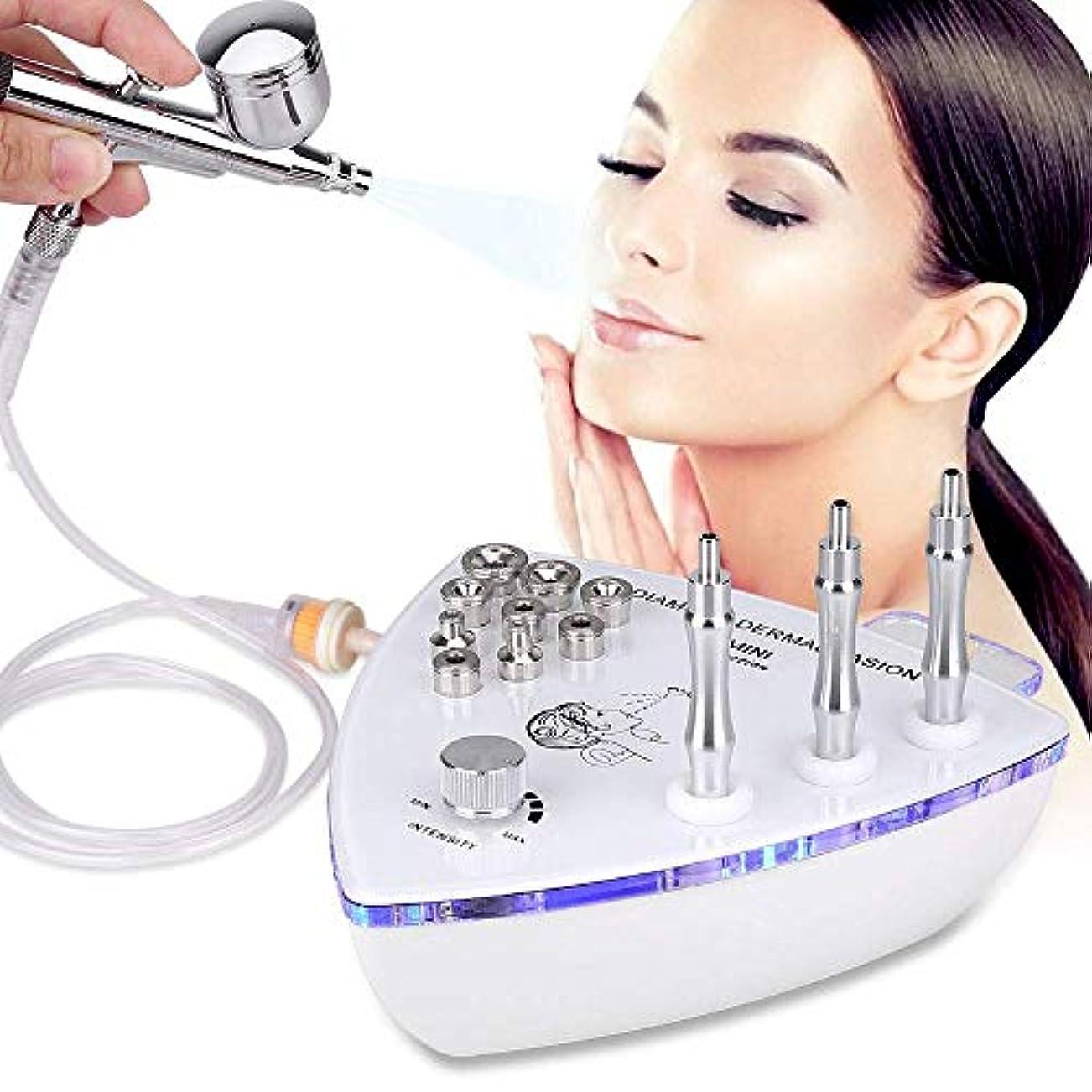 スプレーガン、プロ用皮膚剥離機、ウォータースプレー剥離顔面美容機付きダイヤモンドマイクロダーマブレーション皮膚剥離機(強力な吸引力:0-68cmHg)