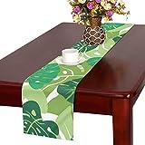 LKCDNG テーブルランナー 緑の地色 木の葉 クロス 食卓カバー 麻綿製 欧米 おしゃれ 16 Inch X 72 Inch (40cm X 182cm) キッチン ダイニング ホーム デコレーション モダン リビング 洗える