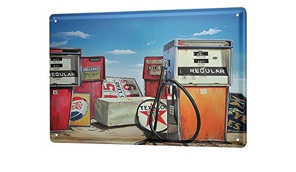 Tin Sign Georg Huber metal plate nostalgic U.S Deco vintage gas station wreck