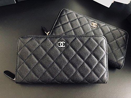 No Brand Nouveauté. 50097 Caviar Quilted Large Gusset Zip Around Wallet Black 7A/8A 最高ランク本革 長財布 レディース No Brand