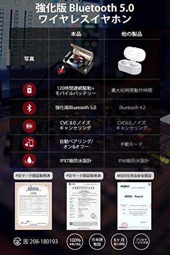 『DeliToo JP Bluetooth イヤホン IPX7防水 左右分離型 充電式収納ケース付き iPhone/Android対応 (T8)』の6枚目の画像