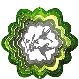【インテリアにもガーデニングにも】 マジカルスピナー バード(鳥) 直径15cm 緑/銀 ステンレス製 ウインドスピナー