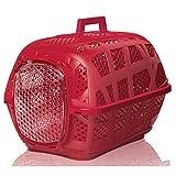 (イマック) Imac ペット用 ペットキャリー スポーティー キャリー プラスチックコンテナ (48.5x32x34cm) (レッド)