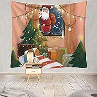 飾り物タペストリー クリスマス ろうそく クリスマスツリー サンタクロース XMAS 壁掛け装飾布 アートプリント壁飾り 背景布 インテリア 多機能 おしゃれ,23,150x130B