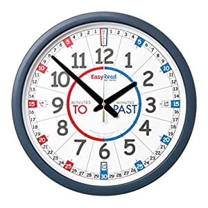 EasyRead Time Teacher Childrens Classroom Wall Clock with simple 3-step time-teaching system, 35 cm dia, ages 5-12, for home & school, learn to tell the time