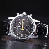 ZooooM カラフル 文字盤 腕時計 メンズ 男性 クロノグラフ レザー 革 クロコ 型押し ベルト カジュアル ビジネス フォーマル ( ブラック ) ZM-WATCH2-659-BK