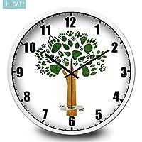 家の装飾の木の壁の無声電子水晶腕時計は家族のレストランの事務室はあらゆる部屋にとって理想的です ホームデコレーション時計 (Color : Platinum Box, サイズ : 14 In.)