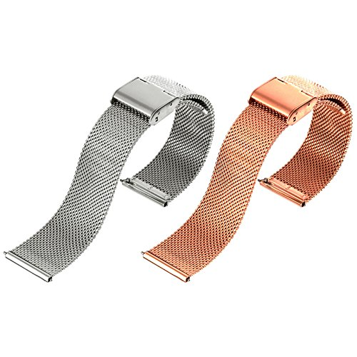 [EMPIRE] ミラネーゼ メッシュ ブレスレット 時計ベルト ワンタッチ 簡単装着 スライド式 バネ棒加工付き