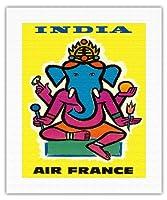 インド - エアフランス - ヒンドゥー教の主ガネーシャ - ビンテージな航空会社のポスター によって作成された ジャン・カルリュ c.1959 - キャンバスアート - 41cm x 51cm キャンバスアート(ロール)