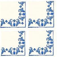 Molly Hatch ブルーチャイナブルーパターン ペーパーカクテルナプキンセット エレガントなフローラルスタイル 40枚パック