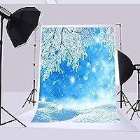5x 7ft150x 210cm背景クリスマス雪風景Iceツリースノーフレーク背景背景写真クリスマス