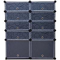 シューズ収納ラック シューズボックス 靴箱 下駄箱 DIY収納ボックス スッキリに収納 おしゃれ 大容量 使い勝手良い PSB10BK (ブラック, 10扉)