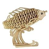 プーマ 水着 3D 木製 立体パズル 3点セット DIY ( 恐竜、動物、爬虫類 etc )創造力を鍛える 知育玩具 夏休み 工作キットにも最適。 (D:鯉)