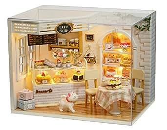 GutMai 初心者DIY、1/24 CAKE DIARY(ケーキ日記)、西洋菓子が満載、ケーキショップ、ミニチュア手作りドールハウス、組立てキート、プレゼント(LEDライト、オルゴール、防塵ケース付き)