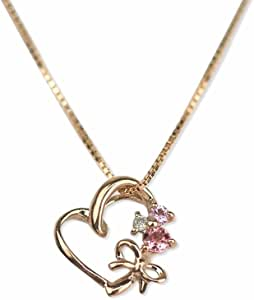 [四葉のクローバー] ピンクサファイア ピンクトルマリン ダイヤモンド 10金 ハート ネックレス 40cm K10 ピンクゴールド 9月 10月 誕生石:Ma404