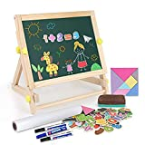 Arkmiido Kids Wooden Art Easel & Supplies with Paper Roll,Double-Sided Whiteboard & Chalkboard Tabletop Easel