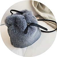 秋冬の毛深い小さな袋 女性2019新しいメッセンジャーバッグ 豪華なファッションバケツバッグ,灰色,20*19*12cm