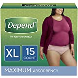 Depend FIT-FLEX Incontinence Underwear for Women, Disposable, Maximum Absorbency, XL, Blush, 15 Count