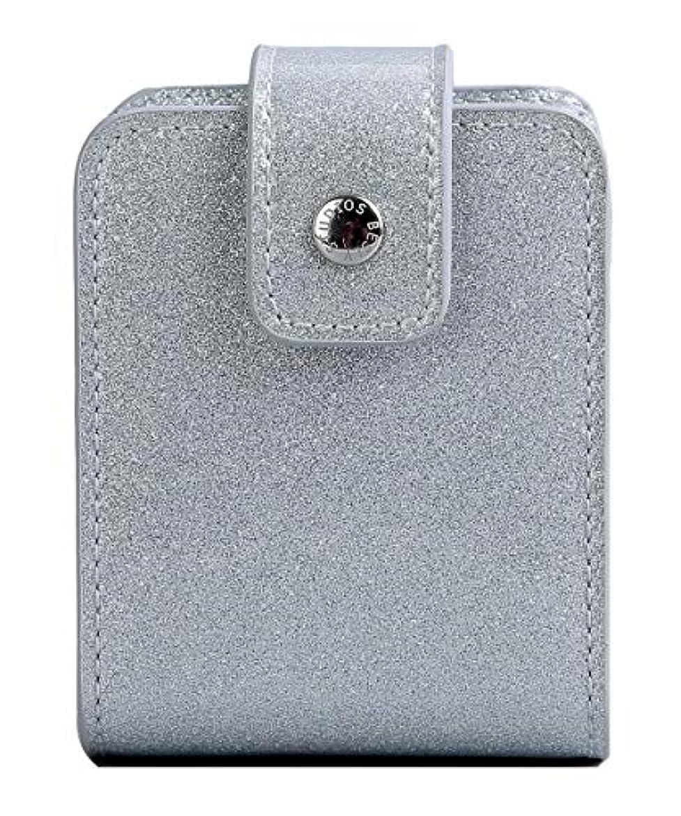 模索スポンサーエンジニアBESLY 女性用リップ化粧ポーチ リップを収納する ミニサイズ 携帯しやすい 人工製 銀色 PU革