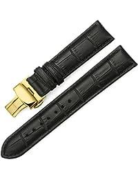 iStrap 時計ベルト 17mm 18mm 19mm 20mm 21mm 22mm 24mm6色 カーフレザー腕時計バンド 革ベルト ゴールデンDバックル尾錠付き (13mm, ブラック)