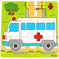HuaQingPiJu-JP かわいい木製の教育的なパズルアーリーラーニングの数字の形の色の動物のおもちゃキッズのための素晴らしいギフト(救急車)