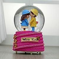 royarebarクリエイティブベビーおもちゃ音楽ボックスRomantic Coupleクリスタルボール音楽ボックスCommemorative trinkets-pink
