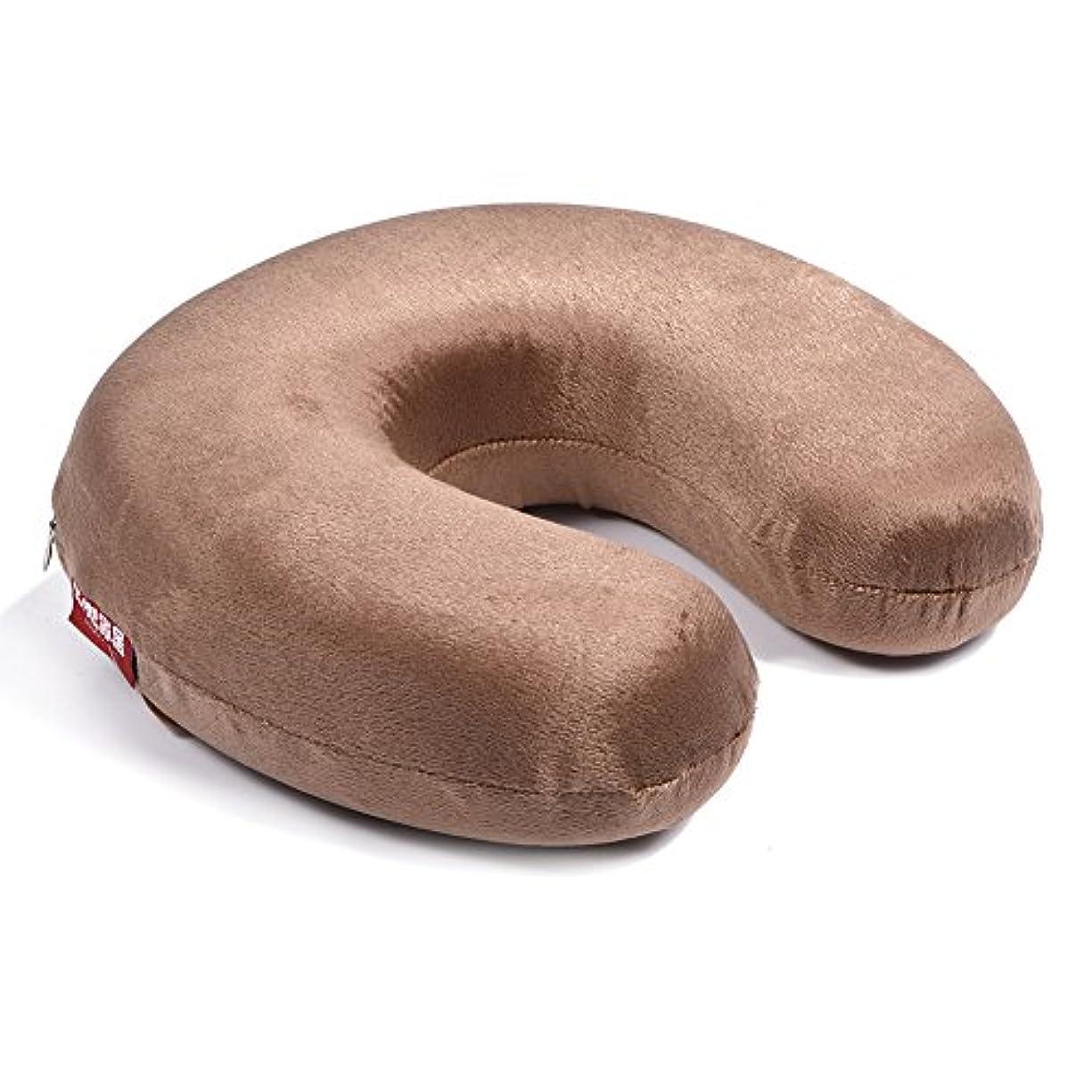 塊順応性感覚携帯用U字型枕、記憶泡の枕首の首の頚部ヘッドレストのクッションの家旅行(Brown)