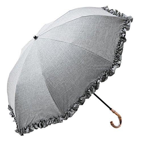 【Rose Blanc】100%完全遮光 日傘 フリル(傘袋付) 2段折りたたみ 50cm (ダンガリーグレー) (ダンガリーグレー)
