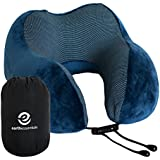Travel Pillow Premium Memory Foam | Neck Comfort and Support | Eye Mask and Ear Plugs Accessories Bundle by Earth Essentials