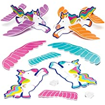 Rainbow Unicorn Gliders for Kids - Fun Toy Party Bag Filler Kids Loot Gifts (Pack of 8)