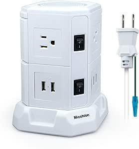 電源タップ 縦型コンセント タワー式 オフィス8個口 USB 4ポート(最大4.5A/5V)2500w 入力110v-250v会議用 USB急速充電 2m スイッチ付 6 口 2層 ホワイト Micshion (ホワイト)
