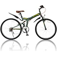 RayChell(レイチェル) 26インチ 折りたたみ マウンテンバイク R-314N シマノ18段変速 ノーパンクタイヤ Vブレーキ グリップシフト オリーブ [メーカー保証1年]