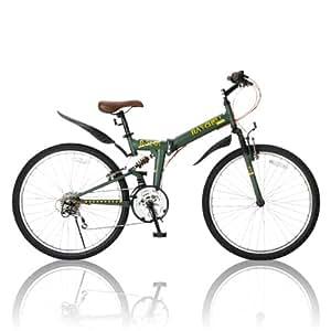 RayChell(レイチェル) 折りたたみ自転車  26インチ R-314N シマノ18段変速 ノーパンクタイヤ Vブレーキ/グリップシフト/フェンダー/ベル/サスペンション標準装備 オリーブ