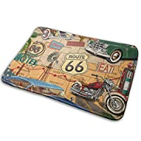 """Vintage Route 66(2)ドアマット進入路面敷物装飾フロアマット、滑り止めなし、23.6""""15.7"""""""