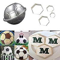 3dサッカーボールパン、LqQdDフットボール形状ケーキパンと赤ちゃんSoccer Cookie Everカッターセット、フットボールのカッターケーキ型スタジアムPlayer World Cupマスターチャートケーキデコレーションgumpasteフォンダン金型