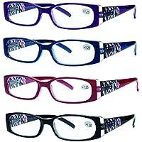 READING GLASSES 4 Pack Quality Stylish Designed Womens Glasses for Reading