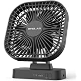 OPOLAR 5 Inch Desk Fan with Timer USB or AA Battery Operated 3 Speeds Extra Quiet 7-Blade Design Adjustable Angle for Office Desk Bedroom and Outdoor (without Batteries)
