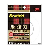 (まとめ) 3M スコッチ 超強力両面テープ プレミアゴールド (スーパー多用途) 12mm×4m SPS-12 1巻 【×5セット】 ds-1574053