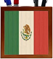 Rikki Knight Mexico Flag on Distressed Wood Design 5-Inch Wooden Tile Pen Holder (RK-PH8749) [並行輸入品]