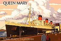 ロングビーチ、カリフォルニア–Queen Mary 12 x 18 Art Print LANT-43746-12x18