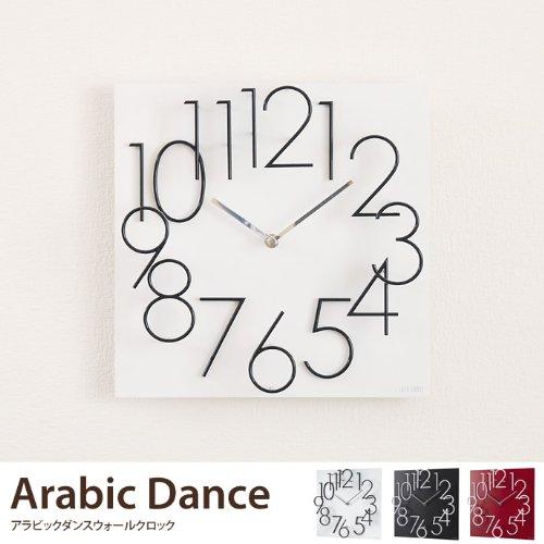 ブラック/時計 壁掛け 掛け時計 壁掛け時計 立体文字盤 クロック インテリア アンティーク アラビックダンスウォールクロック ホワイト レッド ブラック 壁掛け時計