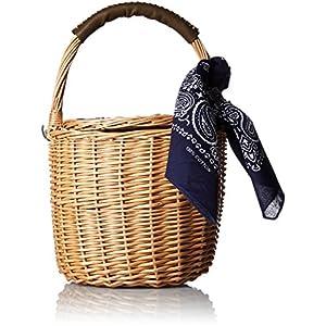 [カカトゥ] バンダナ付き柳バケツ型かごバッグ 07-00-09800 KA カーキ
