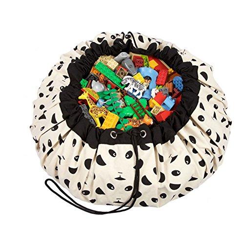 Tutent お片付けマット 玩具/レゴ/ブロックのお片づけ おもちゃ収納袋&プレイマット 直径140cm 綿(パンダ)
