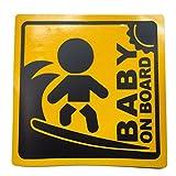 BABY IN CAR 赤ちゃん 乗車中 ( 12cm マグネット ステッカー サーファー )
