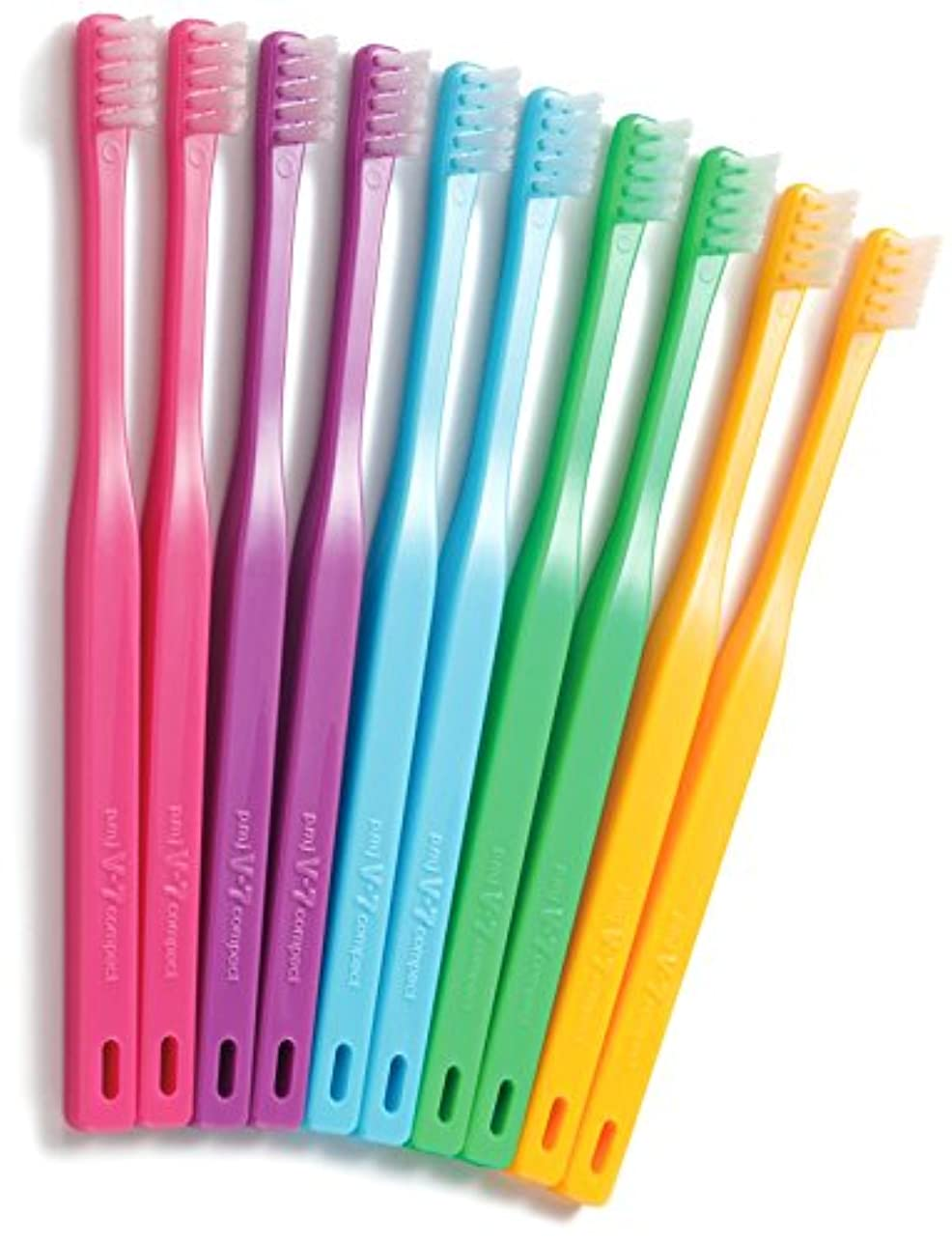 拒否放置組み立てるつまようじ法歯ブラシ V-7 コンパクトヘッド 10本入