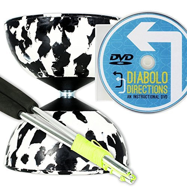 Mr B Harlequin Diabolo, Metal Diablo Sticks & Diabolo Directions Instructional DVD! (Black & White) [並行輸入品]