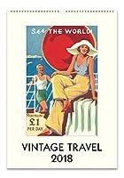 Cavallini Papers Vintage Travel 2018 Wall Calendar [並行輸入品]