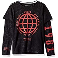 Guess Boys' Big Long Sleeve Worldwide Graphic T-Shirt
