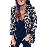 TOOGOO Women Fashion Leopard Print Blazer Cardigan Ladies Casual Open Front Slim Suit Jacket Coat Outwear Tops Small Serpent Print S