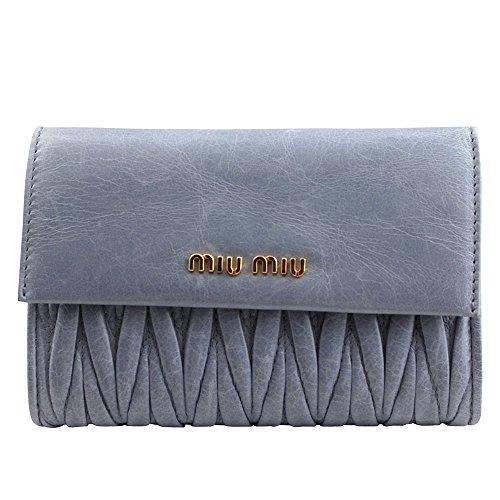 【アウトレット】 (ミュウミュウ)MIUMIU 三つ折り財布 5ML225 MATELASSE ASTRALE ライトブルー [並行輸入品]